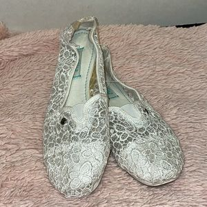 Mad Love White Lace Slip Ons-New